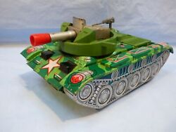 Daito Tin Plate Us Army Cap Firing Armored Tank Battery Operated Toy Japan Made