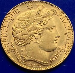 22ct Gold 10 Franc Ceres Godess Of Agriculture Antique Gold Coin Paris 1896.