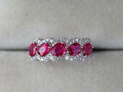 Natural Ruby Ring 2 Cts Ruby For Her 14k Solid White Gold And Diamonds Jewelry