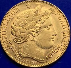 10 Franc 22ct Gold Ceres Goddess Of Agriculture Gold Coin Paris 1896.