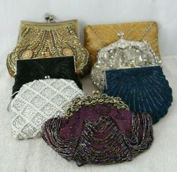 LOT OF 7 BEADED CLUTCHES AND PURSE WITH STRAPS EXPRESS TAN SILVER BLACK $48.38