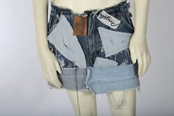 Vintage Levi Strauss Patchwork Denim Ripped Fade Out Cut Out Mini Skirt Size S