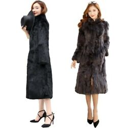 Women Rabbit Fur Parka Stand Collar Long Sleeve Thick Warm Overcoat M-6xl Coat L
