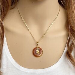 14k Solid Real Gold Red Jade Happiness Chinese Japanese Kanji Symbol Pendant