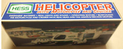 2001 Hess Toy Truck Helicopter With Motorcycle And Cruiser New/box