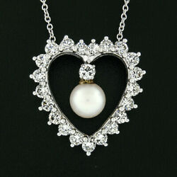 Vintage 14k White Gold 1.76ctw Diamond And Pearl 20 Open Heart Pendant Necklace