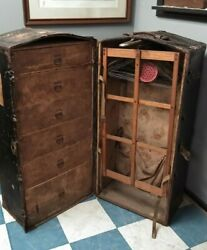 Antique Immigrant Luggage Trunk Wood And Leather Central Trunks Factory