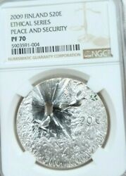 2009 Finland Silver 20 Euro Peace And Security Ngc Pf 70 Very Scarce Perfection