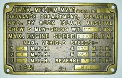 Authentic Wwii Us Army M2a1 Medium Tank Builders Plate Rock Island Arsenal 1941