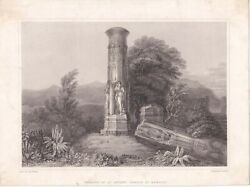 Antique Engraving Print, Remains Of An Ancient Temple At Barolli, 1832