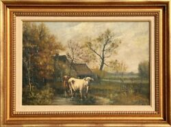 John Parker Davis Pastoral Landscape With Cows Oil On Canvas Signed And Dated