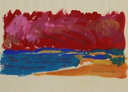 August Mosca Seascape Watercolor And Gouache On Paper Signed And Dated L.r