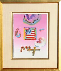 Peter Max Flag Acrylic And Collage On Paper Signed