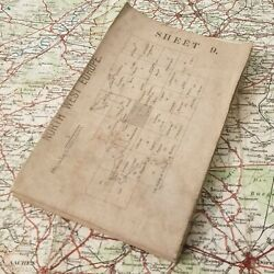 Original 1914 Rouen Ww1 Early British Map Western Trench Medal Badge Military Os