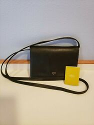 FOSSIL BLACK LEATHER CROSSBODY WALLET PHONE CASE Style # ZB6414. $25.99