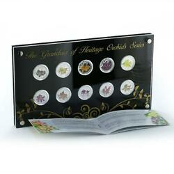 Singapore Set Of 10 Coins The Grandeur Of Heritage Orchids Series Proof 2011