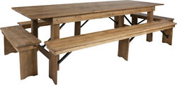 Hercules Series 9' X 40'' Antique Rustic Folding Farm Table And Four Bench Set