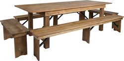 Hercules Series 8' X 40'' Antique Rustic Folding Farm Table And Four Bench Set