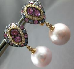 2.69ct Diamond And Aaa Sapphires And Pink South Sea Pearl 18kt Rose Gold 3d Earrings