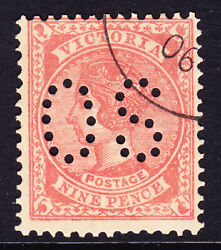 Sh 174 Victoria Cto 9d Perf Os For Upu Distribution Only. Scarce No Gum