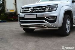 To Fit 2010 - 2016 Vw Amarok V6 Double Spoiler Bar Front Bumper City Chin Nudge