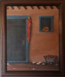 Angie Sanchez Carlson, Chili Ristra At Harvest Time, Oil On Canvas, Signed Verso