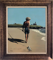 Thomas Kerry, Boy With Fish, Oil On Board, Signed And Dedicated Verso