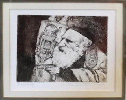 Charles Bragg Rabbi With Torah Etching Signed In Pencil