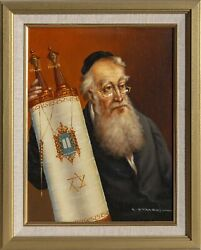 Abraham Straski Rabbi With Torah 15 Oil On Canvas On Wood Signed And Dated