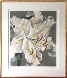 John Zak White Lily Lithograph Signed And Numbered In Pencil