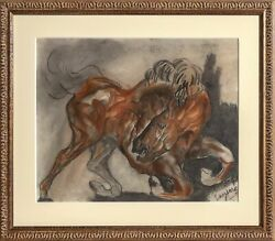 Unknown Artist, Horse, Pastel And Ink On Paper, Signed Lower Right