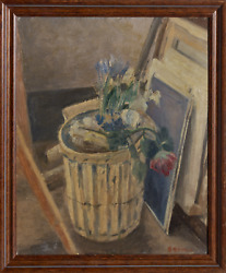 Benjamin Benno, Flowers In The Trash, Oil On Panel, Signed Lower Right