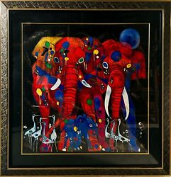 Tiefeng Jiang Elephant Family Screenprint Signed And Numbered In Ink