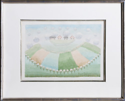 Ivan Rabuzin, Four Houses In The Clouds, Watercolor On Paper, Signed