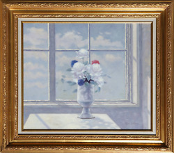 Les Bullene, Flower Still Life In Front Of Window, Oil On Canvas Mounted To Wood