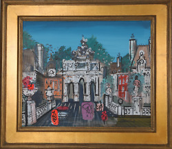 Charles Cobelle, Paris Street With Monuments, Acrylic On Canvas, Signed L.r.