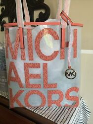 THE MICHAEL BAG SIGNATURE SEE THRU TOTE KORS PINK WORK LARGE TRAVEL PURSE FOB $82.80