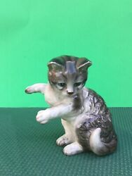 Beautiful Rare Midcentury Vintage Standing Cat Japan Ceramic Figurine