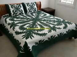 Hawaiian Quilt Bedspread 100 Hand Quilted/hand Appliqué 2 Shams Crown And Kahili