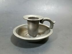 Antique K.c. Pewter Chamberstick Handled Candle Stick Holder
