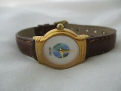 Cherokee Mother Of Pearl Watch, Abalone Dial, Slim Leather Buckle Band, Working