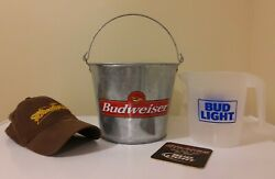 Budweiser Metal Ice Bucket And Bud Light Beer Pitcher + Free Hat And Coaster