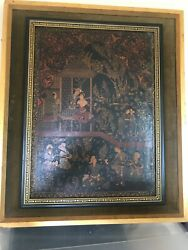 Antique To Older Persian Indochine Imperial Scene Oil Painting Restored 1960-80
