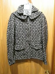 Authentic Black/white Wool Tweed Lined Veste Jacket Size 38 New