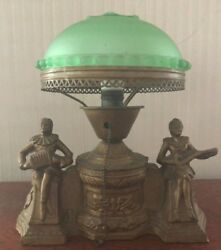Frank Art Table Antique Lamp With Green Glass Domed Shade