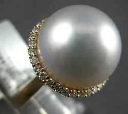 Extra Large .44ct Diamond And Aaa South Sea Pearl 18kt Rose Gold Classic Halo Ring