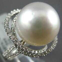 Large .60ct Diamond And Aaa South Sea Pearl 18kt White Gold Double Love Knot Ring