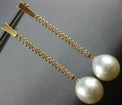 Long .63ct Diamond And Aaa South Sea Pearl 18kt Rose Gold 3d Bar Hanging Earrings