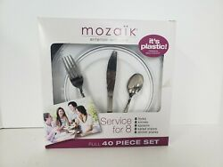 Mozaik 40-piece Plastic Party Dinnerware Set White/silver Service For 8.