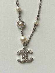 Auth Brand New Costume Pearl Silver Tone Metal Cc Crystal Strass Bracelet